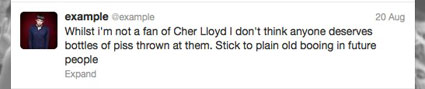 Example defends cher lloyd on twitter