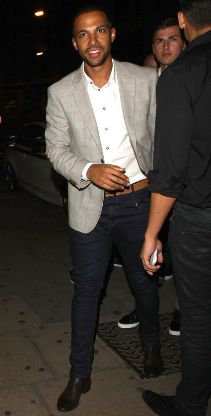 Marvin Humes leaving the rose club with his beard