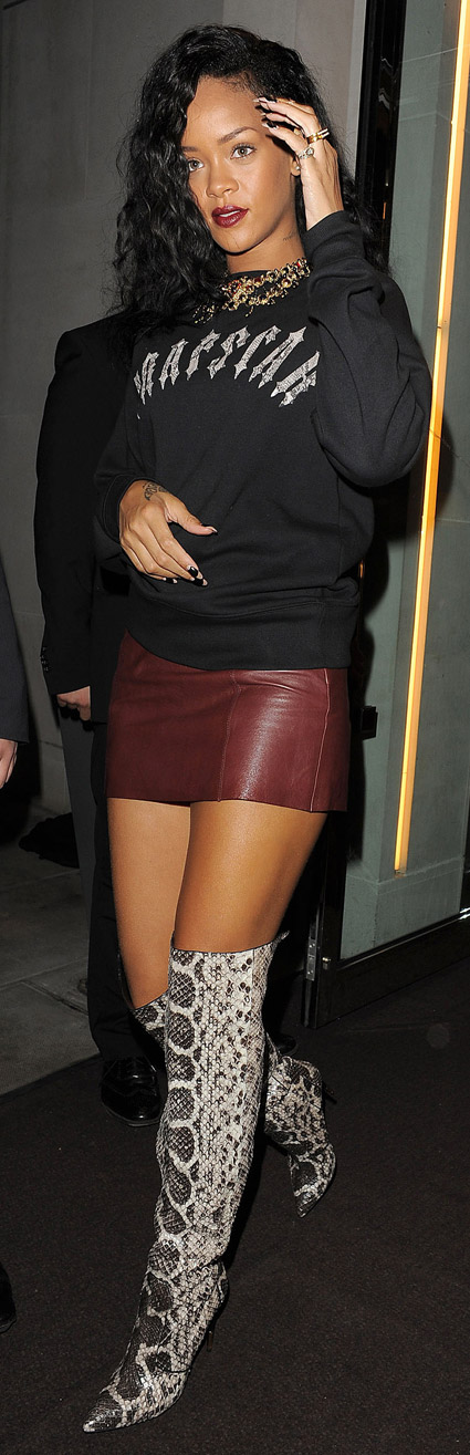 rihanna s thigh high snakeskin boots leather skirt in