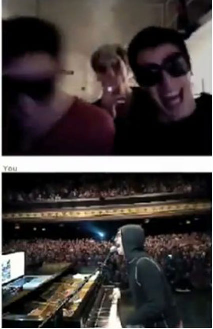 Photo: Chat Roulette frame from concert at Fillmore