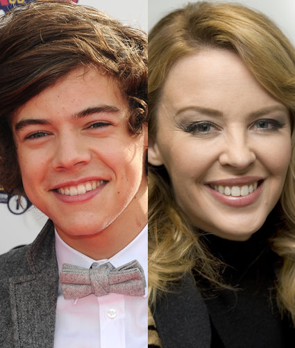 One Direction share the plane with Kylie Minogue