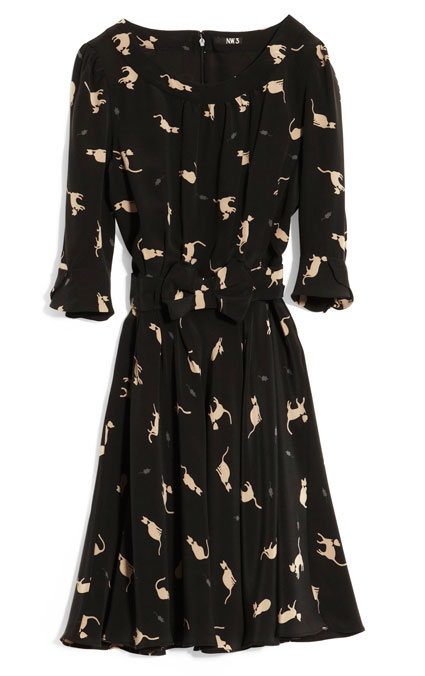 hobbs nw3 annabel dress silk cat print