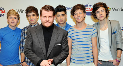 Photoshopped picture of One Direction and James Corden