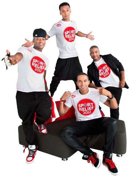 JLS pose to promote charity Sport Relief single Proud
