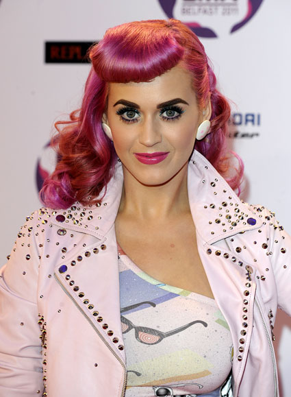 Katy Perry with pink hair and a fringe
