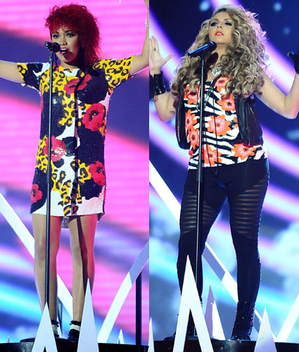 Little Mix's Leigh Anne and Jesy on stage at National TV Awards 2012